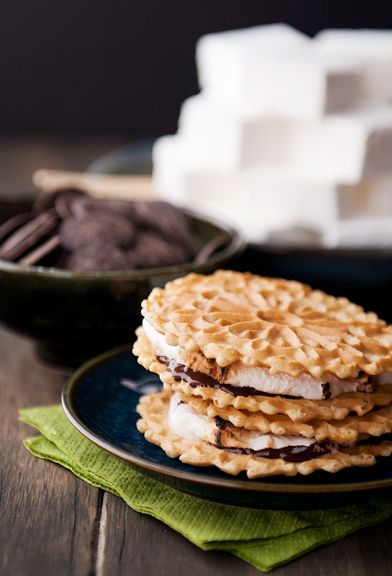 pizzelle smores from use real butter. nom.