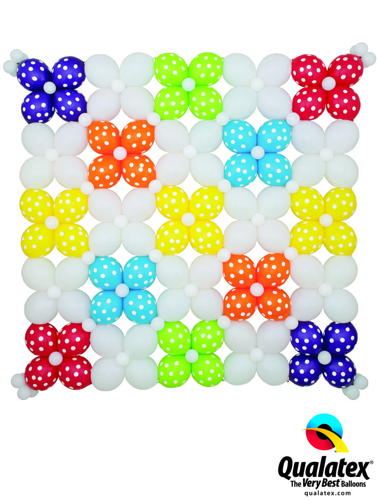 Balloon walls make the best backdrops for any party or celebration. With Quick Link balloons, they are easier to make. Check out this X-pattern design with the polka dots - so cute and trendy! #qualatex #balloon #quicklink