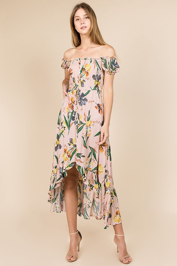 122ab1b51 *Off shoulder button front waist tie floral print ruffle hem maxi dress  *Floral print hi low curved hem frill trim midi and maxi dress *Aymmetrical  hem ...