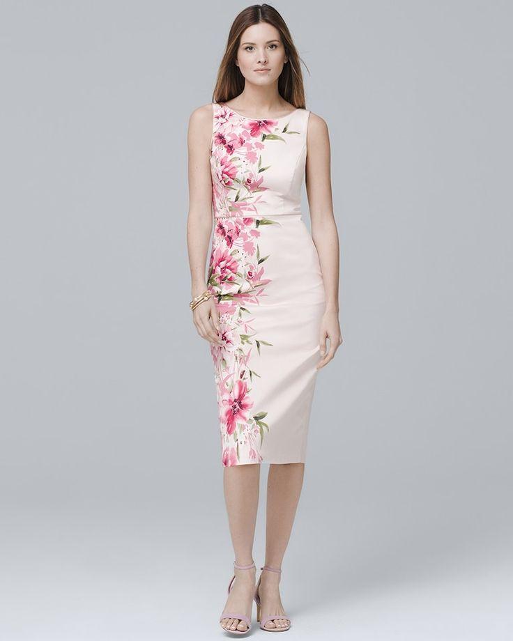 Sleeveless Pink Floral-Print Sheath Dress