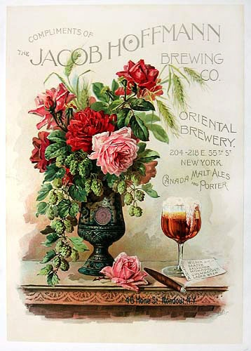 Jacob Hoffmann Brewing Co. vintage poster from 1890s. LOVE the bouquet with hops and garden roses in a chalice.