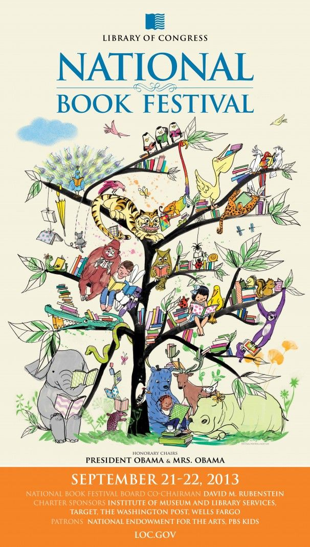 The amazing Suzy Lee created the poster for the National Book Festival. Everything we love about books.
