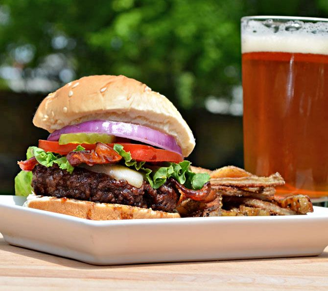 Jack Daniels Burgers (T.G.I. Friday's Copycat Recipe):  With juicy ground sirloin, flavorful Jack Daniels glaze, melted Provolone, perfectly crunchy bacon, lettuce, tomato, onions, pickles, and a good sesame seed bun, this burger has it all.