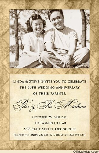 27 best anniversary invitations images on pinterest anniversary anniversary invitations 50th personalized 50th anniversary invitation brown gold wedding stopboris Image collections