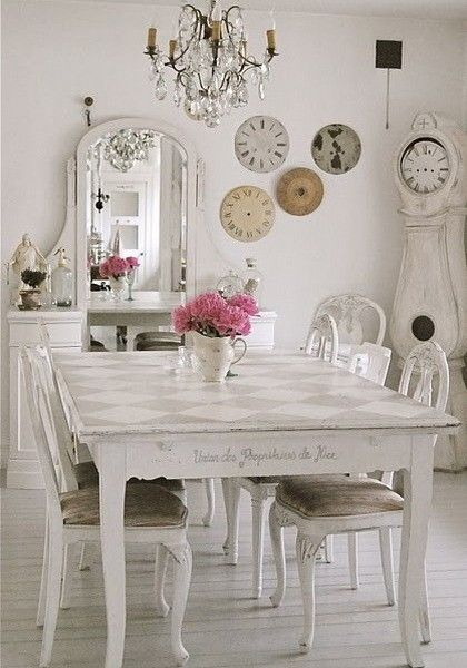 Shabby Chic Decorating Ideas White Interior Dining Room Table Grandfather Clock