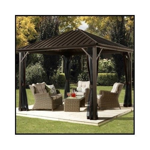 Metal-Patio-Gazebo-Steel-Aluminum-Hard-Top-Outdoor-Pergola-Waterproof-Canopy-Net