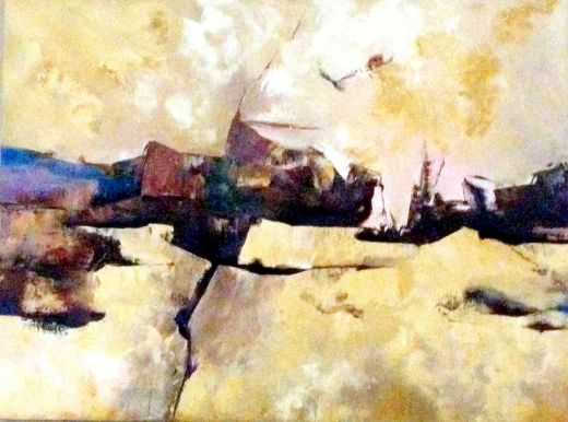 Deserted and Fractured Desert by Laverne Chisan, Painting - Oil | Zatista