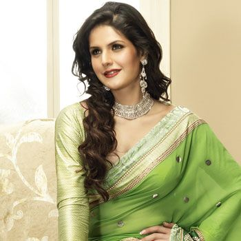 #Green Faux Georgette #Saree with Blouse