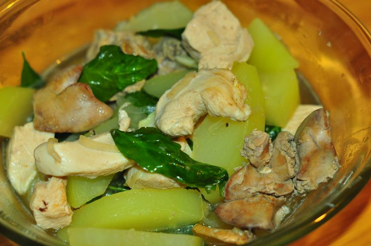 Chicken Tinola with Papaya Pepper leaves and Chicken liver