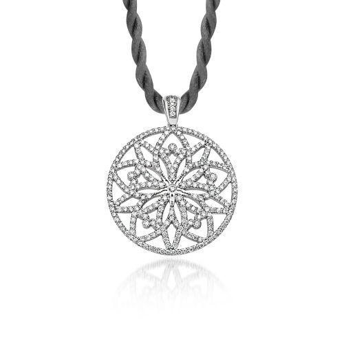 "Pendant Love Charm 2015 ""Centaurea"" large in white gold with diamonds."