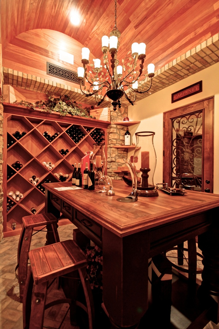 254 best wine cellars images on pinterest wine cellars wine we love the table in this home wine cellar arubaitofo Choice Image