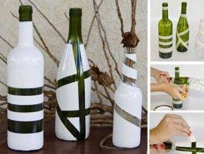Decorative wine bottles ideas, maybe with metallic spray paint?