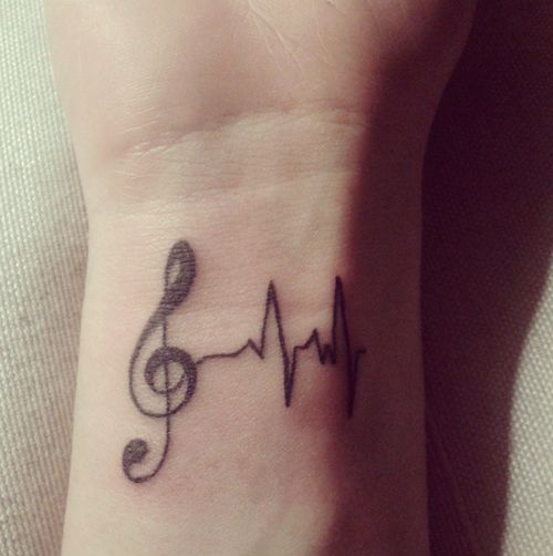music tattoo LOVE IT!  music=mylife! Love the ekg reading, could mean nurse too