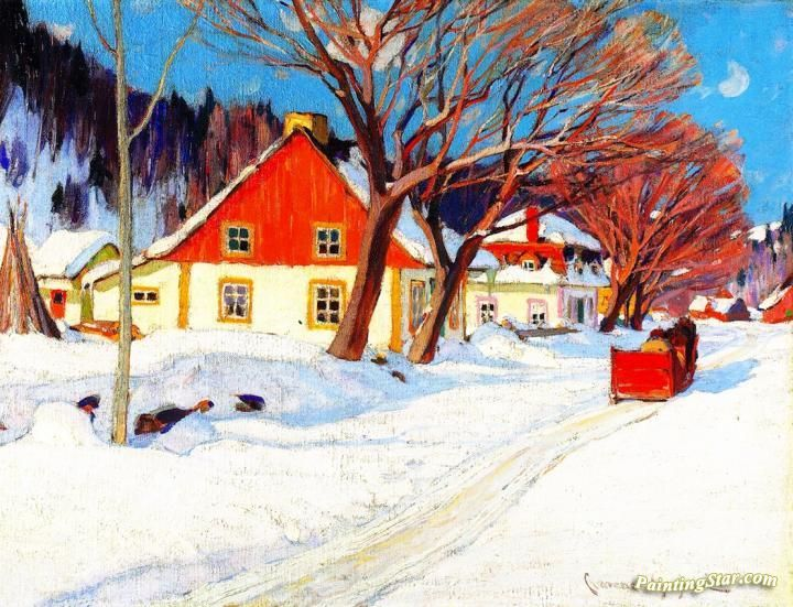 Winter Landscape, Baie-Saint-Paul Artwork by Clarence Gagnon Hand-painted and Art Prints on canvas for sale,you can custom the size and frame