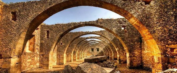 arches of an old Cretan olive mill
