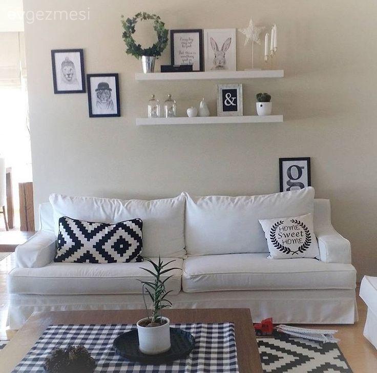 Salon, Siyah-beyaz, Duvar dekorasyon, Raf, Minder, Orta sehpa