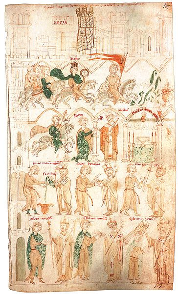 1191.1165-97.Henry VI, Holy Roman Emperor.Coronation of Emperor Henry VI by Pope Coelestin III. in 1191.Liber ad honorem Augusti f105r.