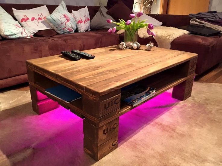 Rustic Pallet Coffee Table + LED Lights | 101 Pallets