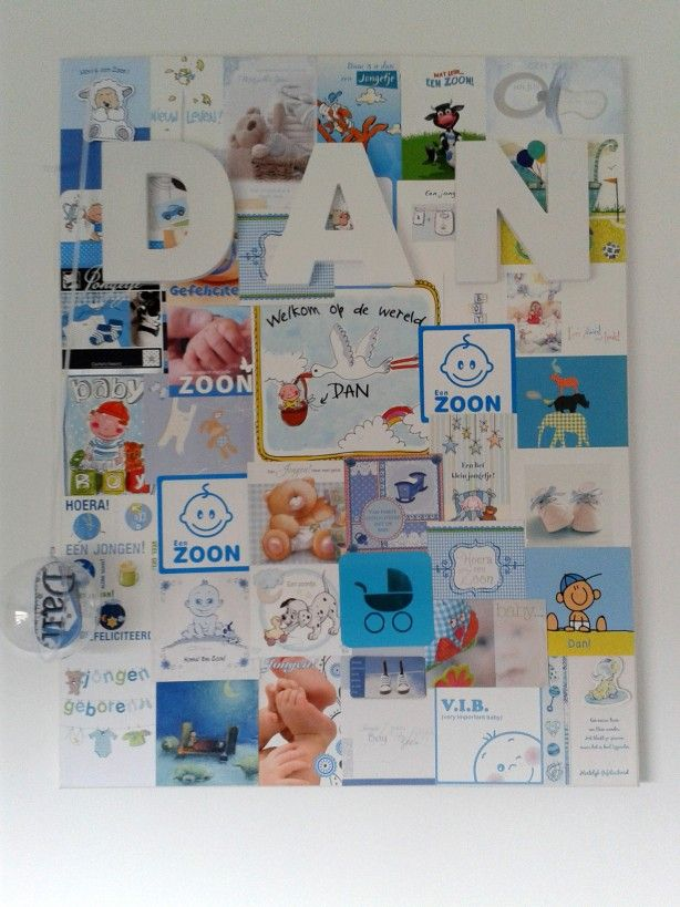 Gemaakt vd geboortekaartjes. Geplakt op canvasdoek met naamletters! Simpel maar zo leuk!