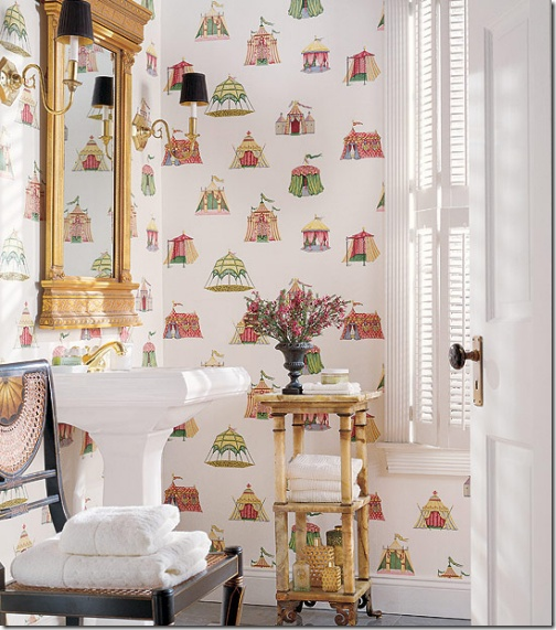 Chic Powder Room; Thibaut, Cabana Wallpaper: Interior Design, Idea, Circus Tent, Tent Wallpaper, Thibaut Wallpaper, Cottage, Wallpapers, Bathroom, Powder Rooms