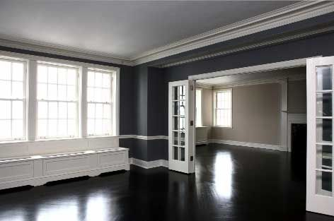 Black Wood Floor White Trim Gray Walls Gray Walls
