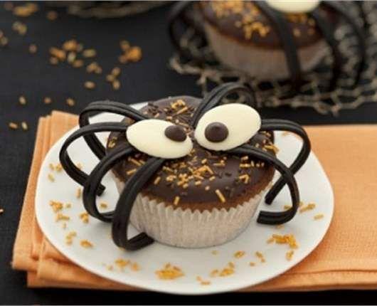 Muffins aracnidos de halloween