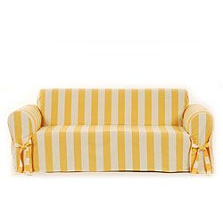 Cotton Duck Sofa Slipcover Yellow Stripes Are So Sunny And Adorable Dream Home Covers Slipcovers