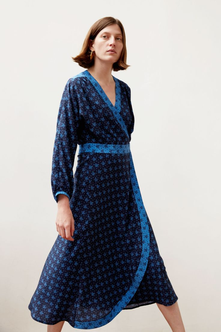 No.6 Berta Wrap Dress in Navy Cobalt French Floral