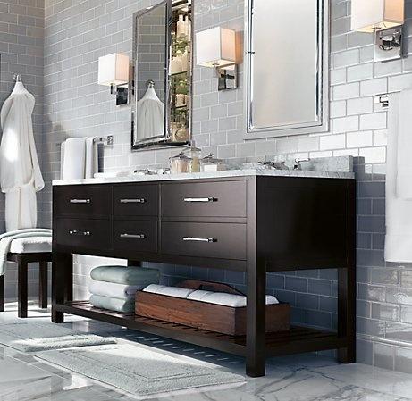 Open shelf vanity  Bathroom  Pinterest