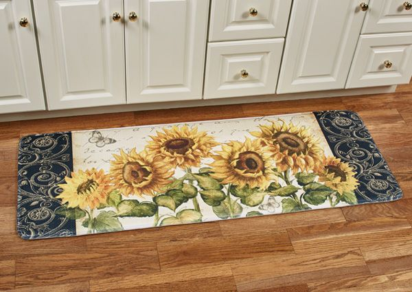 Inspired By The Cheerfulness Of Summer The Beautiful French Sunflowers On This Cushioned Runner Mat Perk Up Your Kit Memory Foam Cushion Cushioned Kitchen Mat