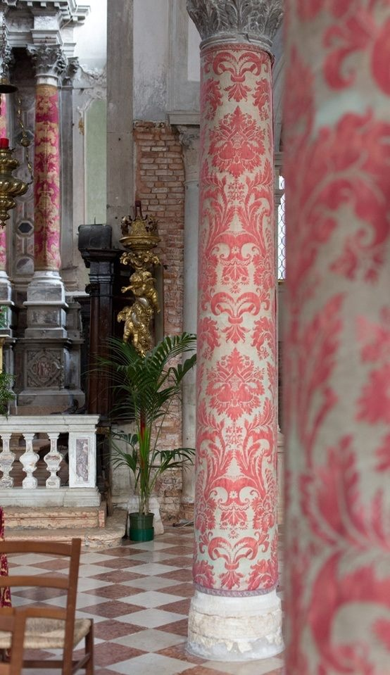 fabric-covered columns!