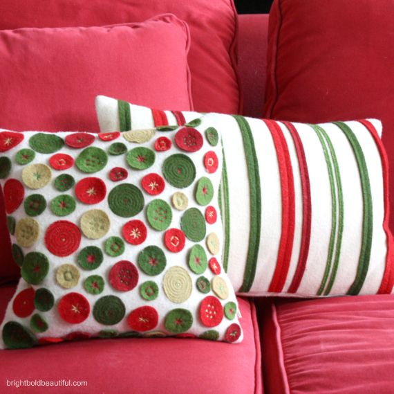 red and green holiday pillows