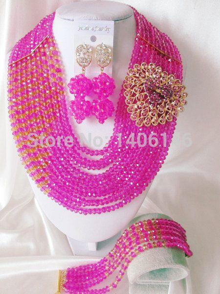 2014 новая бесплатная доставка женщины ювелирные изделия комплекты самые фуксия розовый, Горячий кристалл нигерии свадьба африканские бусины комплект ювелирных изделий Ab1025