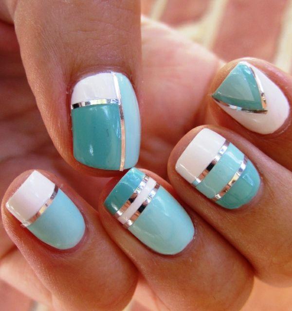 Green ~ Light Blue ~ White Nail Art