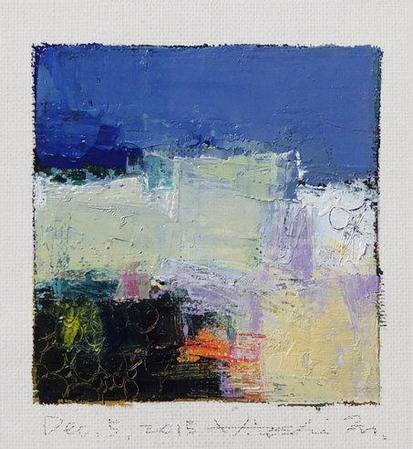 5 dicembre 2015  pittura a olio astratta originale  9 x 9