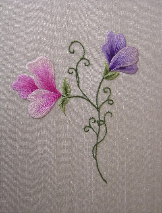 Kit de bordado de seda sombreada Sweetpeas por VineEmbroidery
