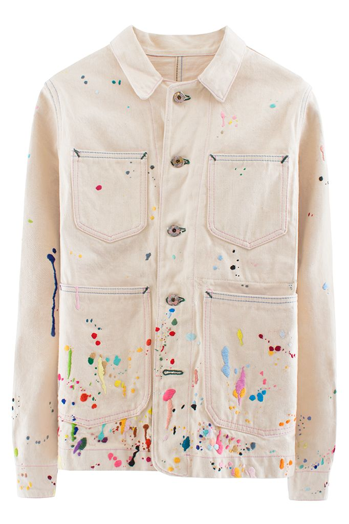 BANDULU SPLATTERED JACKET Heavyweight off-white jacket with hand-embroidered paint splatter embellishment. Embroidered logo and iguana on back. Four pockets. Dry clean only. 100% cotton.   $1100 BANDLULU Under the direction of artist Pat Peltier, Bandulu takes quality, vintage clothing and re-envisions them through intricate hand embroidery and exquisite detailing like embroidered paint splatter.