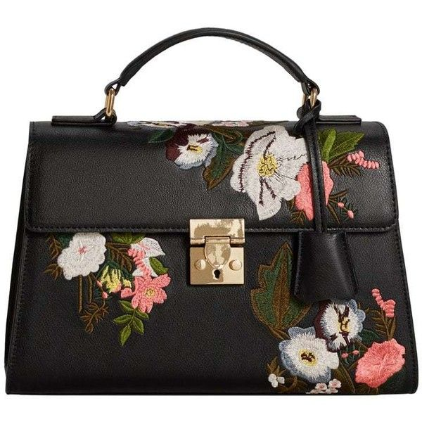 Floral Embroidery Bag (110 BAM) ❤ liked on Polyvore featuring bags, handbags, strap bag, pebbled leather handbags, mango bags, mango handbags and pebbled-leather purses