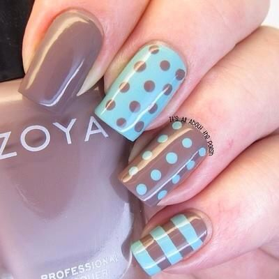 Aqua & Brown nail design that you could DiY if you wanted to.  It's really cute!!