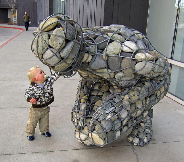 Gabion river stone sculpture by benjaminfish, via Flickr