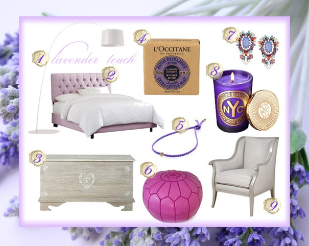 To see where you can find each item visit: http://champagnelanddesigns.com/champagne-land/lavender-touch-2/#