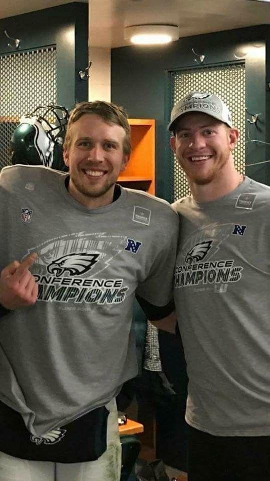 Nick Foles & Carson Wentz Philadelphia Eagles QB NFC Championship 2017 - 2018 Season