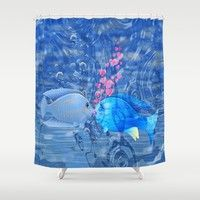 Fish In Love Shower Curtain by Macsnapshot