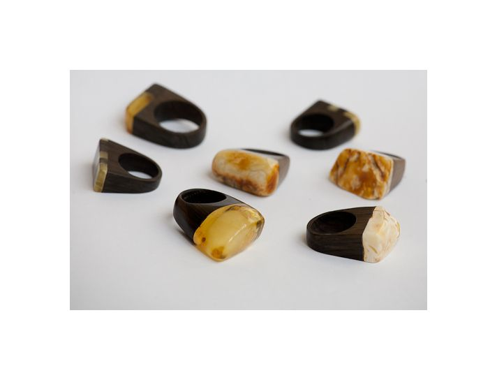Rings. Black oak dating back to the 14th century combined with amber.