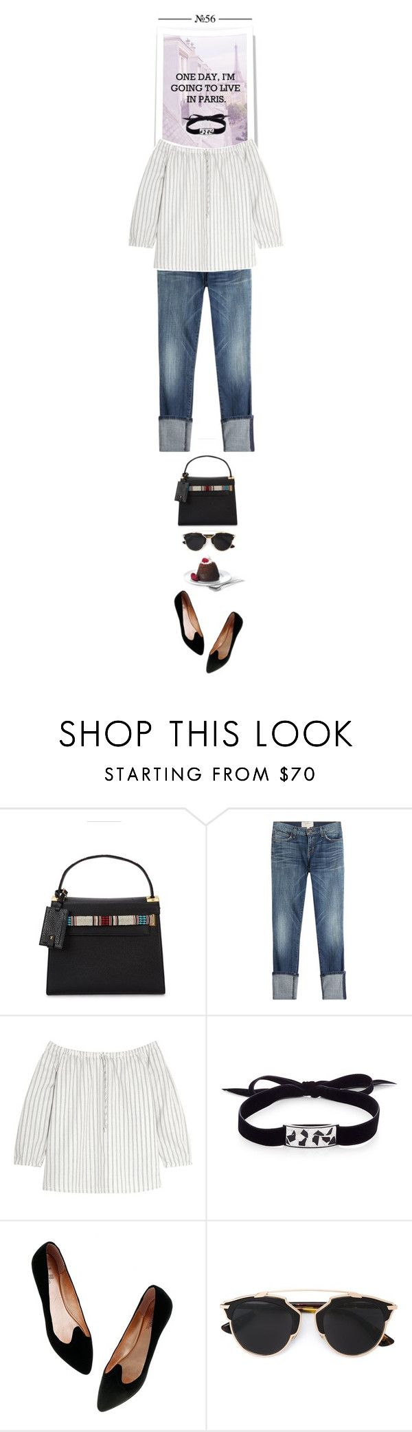 """""""One day, I´m gonna live in Paris..."""" by thehamptonsgirl on Polyvore featuring Valentino, Current/Elliott, Madewell, Roxanne Assoulin and Christian Dior"""