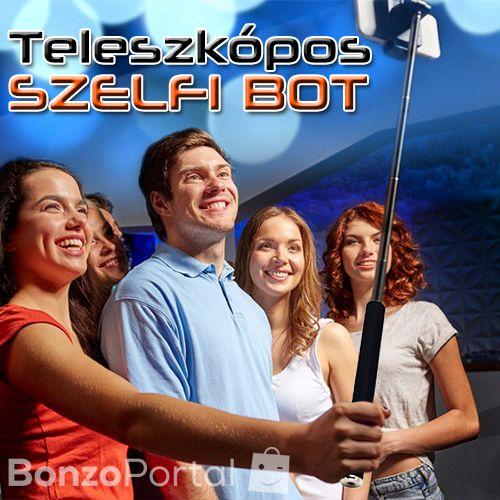 Kompakt szelfi / selfie bot exponáló gombbal - teleszkópos