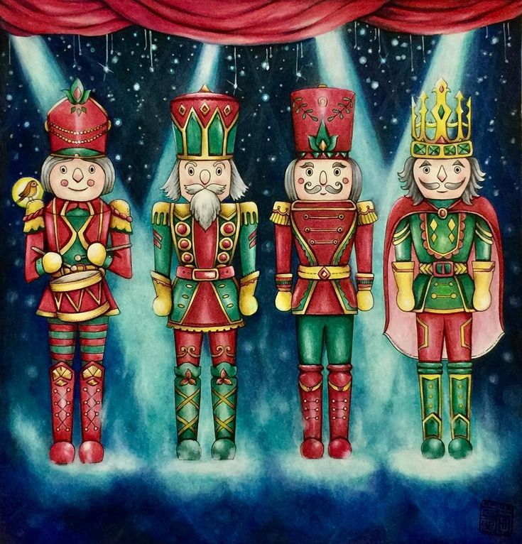 Christmas countdown..✌️☺️ So, I've made these soldier on stage, do you think they are there for a march or choir? #johannaschristmas #johannabasford #fabercastellpolychromos#prismacolor #triplusfineliner Coloured by @cherrycolours <3