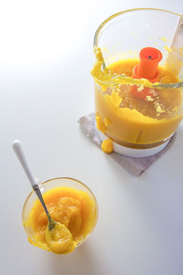 pumpkin pineapple baby food purée made with the Baby Brezza Glass One Step Baby Food Maker