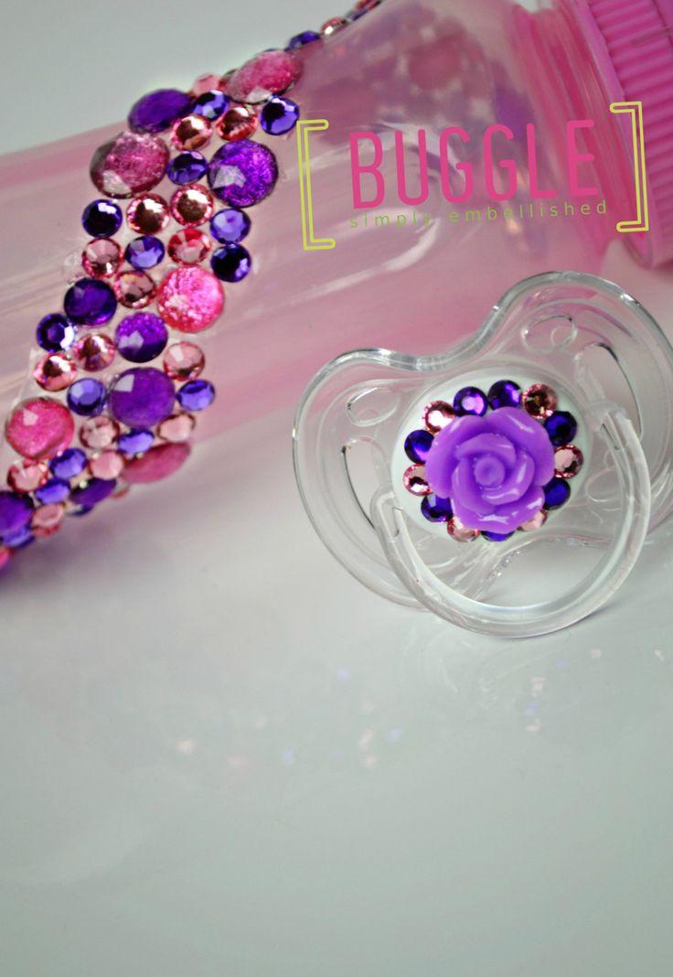 Embellished Bling Baby Bottle & Pacifier Set by Bugglestore, $17.50