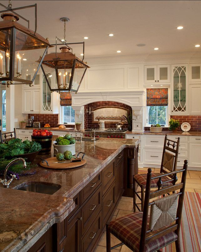 love the lanterns; like the mix of light and dark cabinetry
